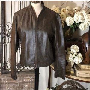 Vintage Vera Pelle distressed leather jacket